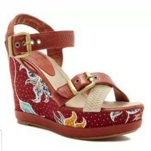 Blackstone Batik wedge Sandals, Color Rust Size 37